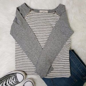 Loft Cropped Fleece Striped Md Gray Pullover Soft